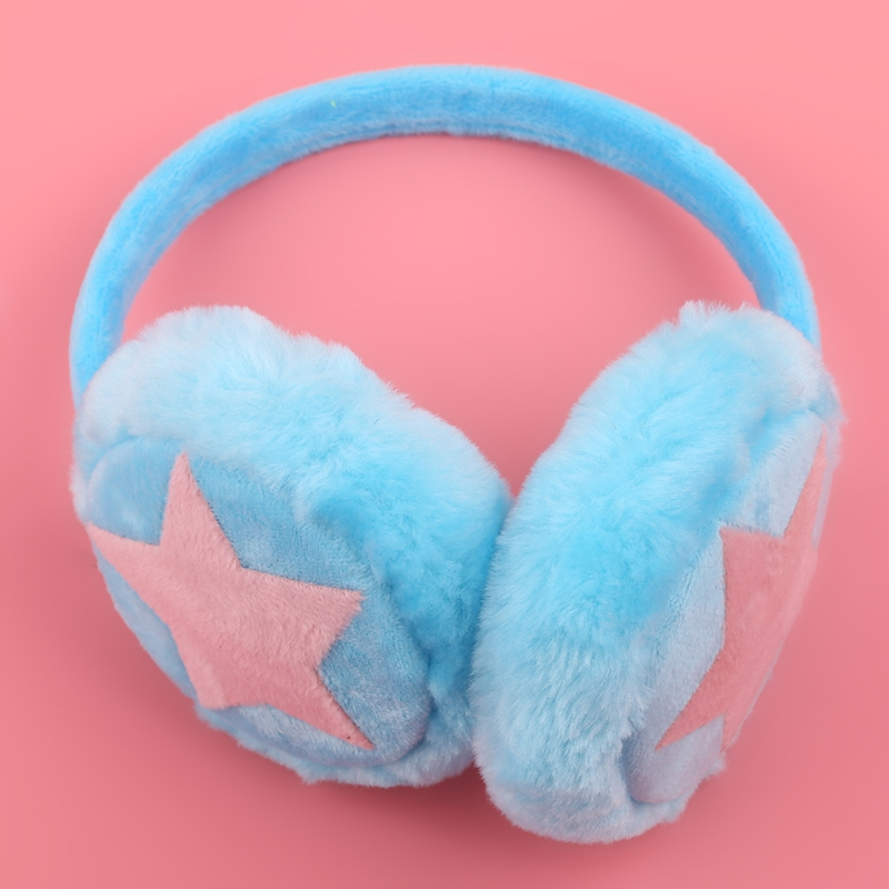 Chinese Red Star Badge Circle Portrait Winter Earmuffs Ear Warmers Faux Fur Foldable Plush Outdoor Gift