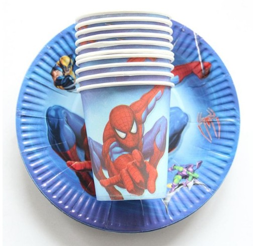 Image 2 - 20pcs Cartoon Unicorn/Spiderman/Avenger/princess Disposable Tableware Sets Paper Plates+Cups Wedding kids Birthday Party Supplie-in Disposable Party Tableware from Home & Garden