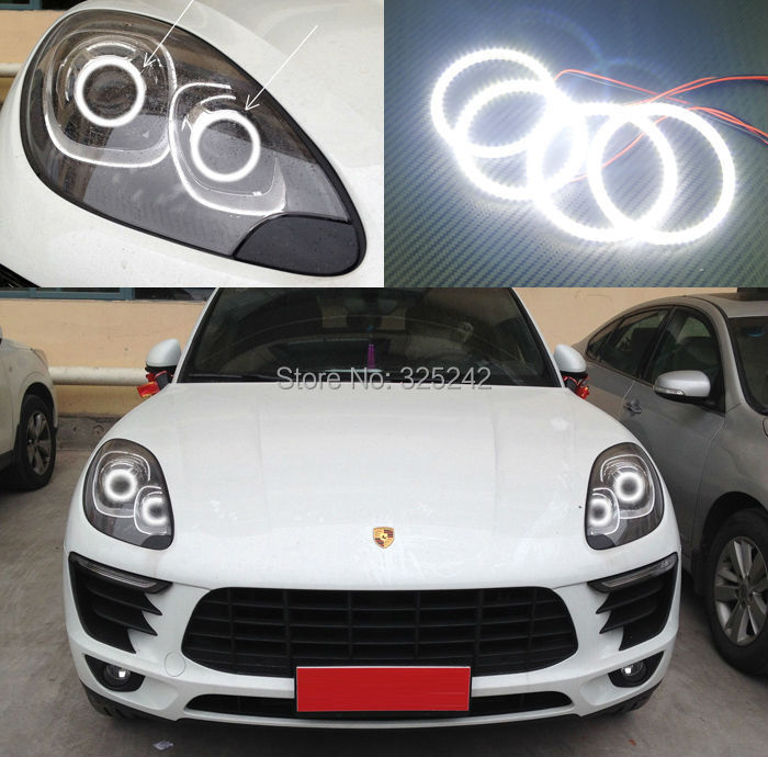 ФОТО For Porsche Macan 2014-2015 Excellent Angel Eyes Ultrabright illumination smd led Angel Eyes Halo Ring kit