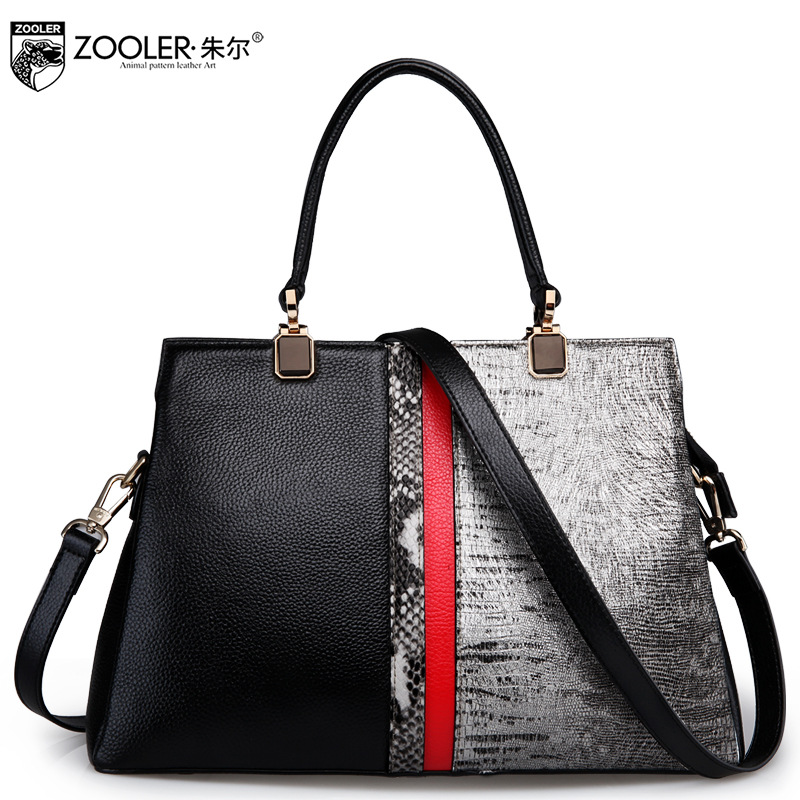 ZOOLER Women Patchwork Real Genuine Leather Handbag 2017 New Winter Tote Ladies Serpentine Pattern Shoulder Bags