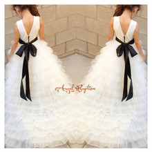 White/ivory Long Train Tiered Floral fancy First Communion Flower Girl dresses Kid Evening Prom Gown baby party occasion frocks
