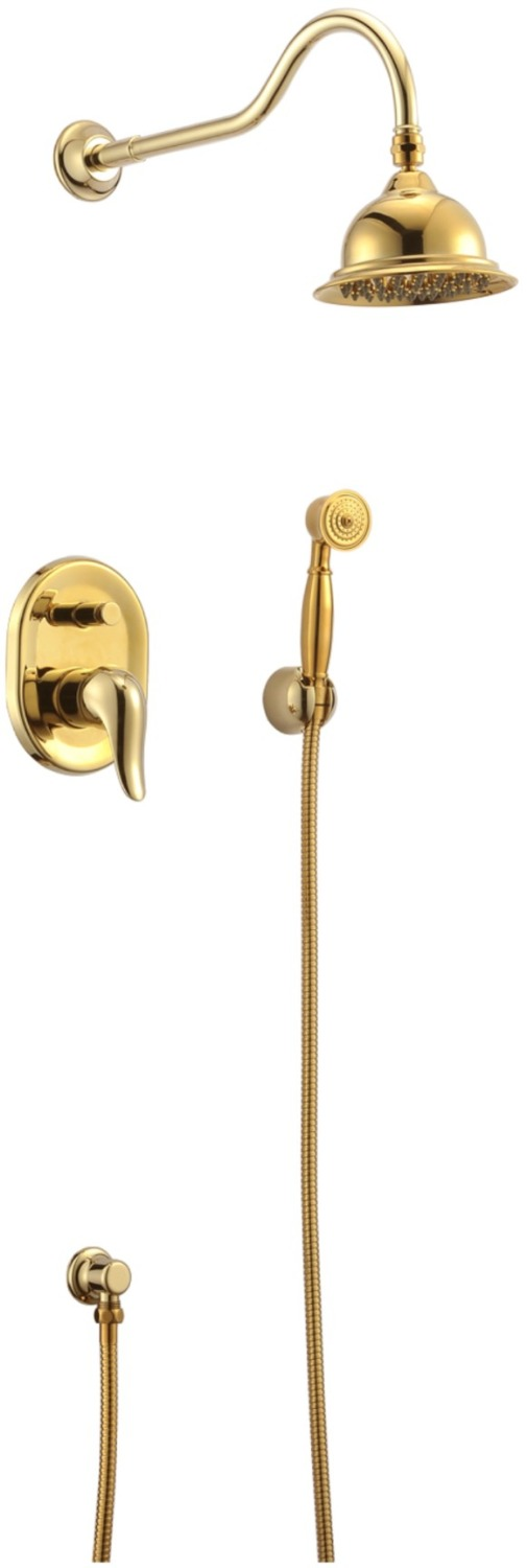 Free ship wall mounted gold PVD finish waterfall shower and bath tub faucet mixer tap
