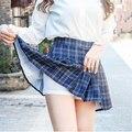Летние клетчатые юбки, Женская плиссированная мини-юбка в Корейском стиле, милые Облегающие юбки с высокой талией в стиле Харадзюку для дев...