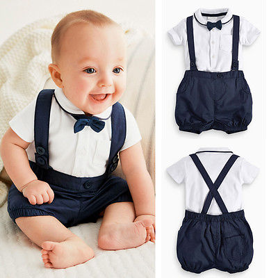 New Baby Boy Toddler Clothing Sets Gentalman T-shirt Tops + Bib Pants Overalls + Bow Tie 3PCS Outfit Outwear Blue 12 18 24 Month