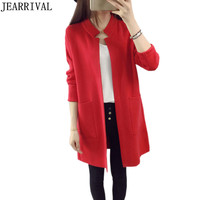 2017 New Fashion Women Cardigans Autumn Winter Knitted Sweater Korean Style Casual Long Sleeve Solid Pockets