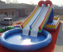 Warranty 3 years inflatable water slide with swimming pool, double track slide, round pool in 1 combination