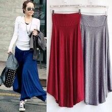 2018 Hot Loose Large Pendulum Casual Summer High Waist Long Skirts Women Thin Solid Draped Elastic Waist Modal Skirt Female