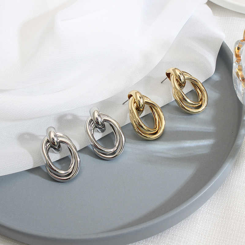 Fashion Korean Earrings for Women 2019 Statement Geometric Long Drop Earring Big Indian Jewellery Gold Silver Color Metal Earing