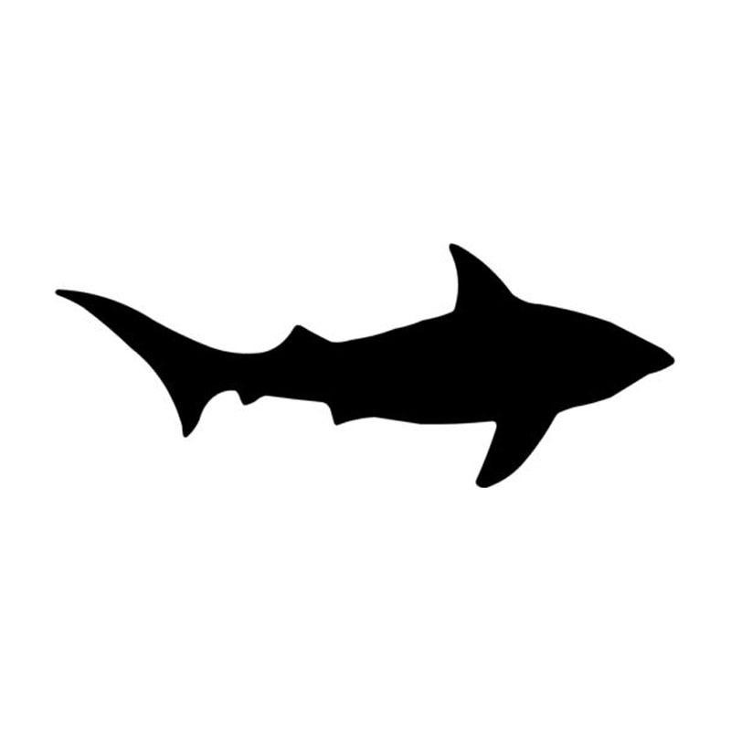 14.1*5.6CM Shark Fish Car Cover Scratches Decorative Decals Car Window Stickers Black/Silver C4-0837