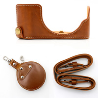 Brown PU Leather Portable Half Body Camera Case With Wrist Camera Hard Bag Camera Storage Bag