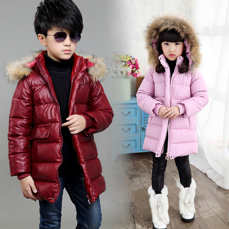 2018 Thick Warm Fur Hooded Girls Winter Coat Zipper Solid Slim Child Winter Jacket For Girls Baby Kids Cotton Parka Down Costume 2018 fur hooded solid solid baby fashion teenage winter jacket for girls cotton down parka girls winter thick warm kids coat