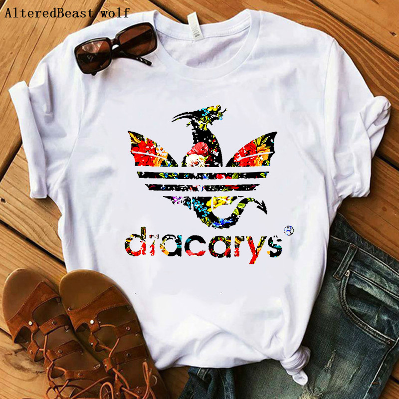 Dracarys Dragon   T     Shirt   Mother of Dragons Flower   T  -  Shirt   camiseta vogue   Shirts   for Women Harajuku Game of Thrones Graphic Tees