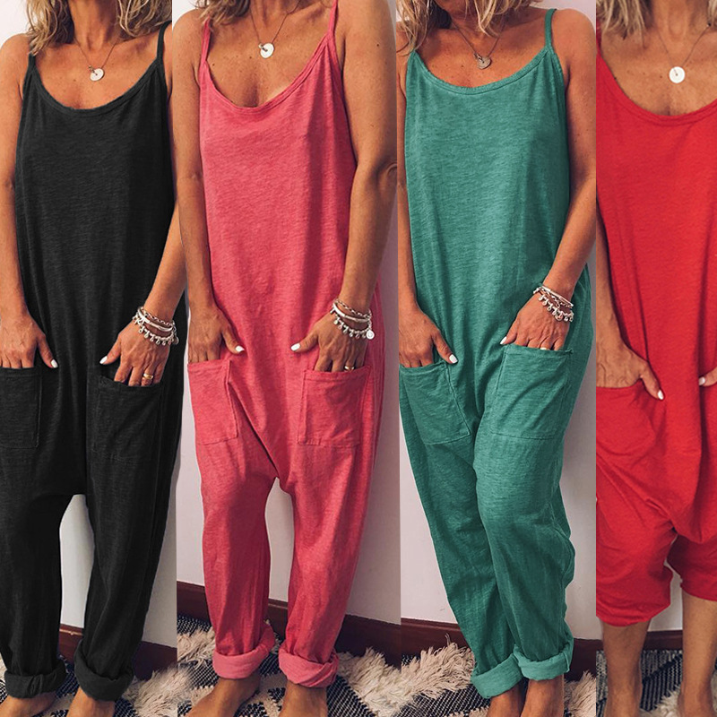Women Casual Loose Pocket Jumpsuits Summer Beach Romper Solid Sleeveless Overalls Jumpsuit