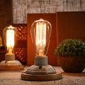 Kiven Vendimia Industrial Edison Del Bulbo de la Lámpara de Mesa De Cerámica Lámpara de Mesita de Noche Dormitorio Luz del Escritorio De Madera Regulable Interruptor Abajur Luminaria