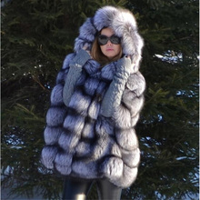 TOPFUR Solid Plus Size Silver Fox Fur Real Coat Winter Natural Cape Luxurious Casual Bat Sleeve Poncho Women Jacket