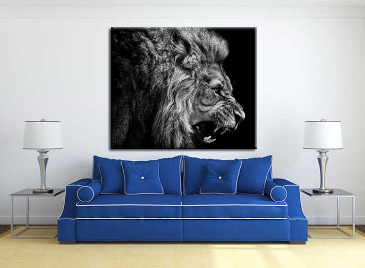 1 pieces / set HD Printed Animal Male Lion Wall Art Painting Canvas Print Room decor print poster Picture Canvas