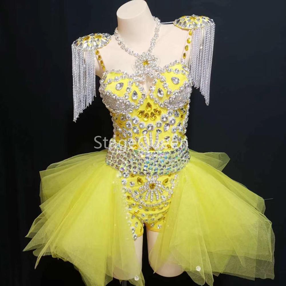 Mode Design néon jaune strass tenue justaucorps jupe scène spectacle épaulettes danse porter des chaînes franges vêtements ensembles
