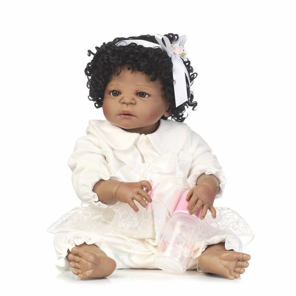 Npkcollection 55cm Full Silicone Reborn Black Skin Girl