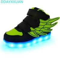 2017 Yeni Marka Melek Kanatları Serisi Çocuklar LED Işıklı Sneakers moda Erkek Kız USB Şarj Ile Rahat Ayakkabı 7 Renkler işık