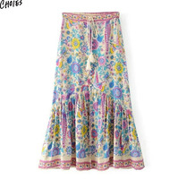 Multicolor Floral Print Side Split Maxi Skirt Boho Women Tied High Waist Buttons Up Front Pleated