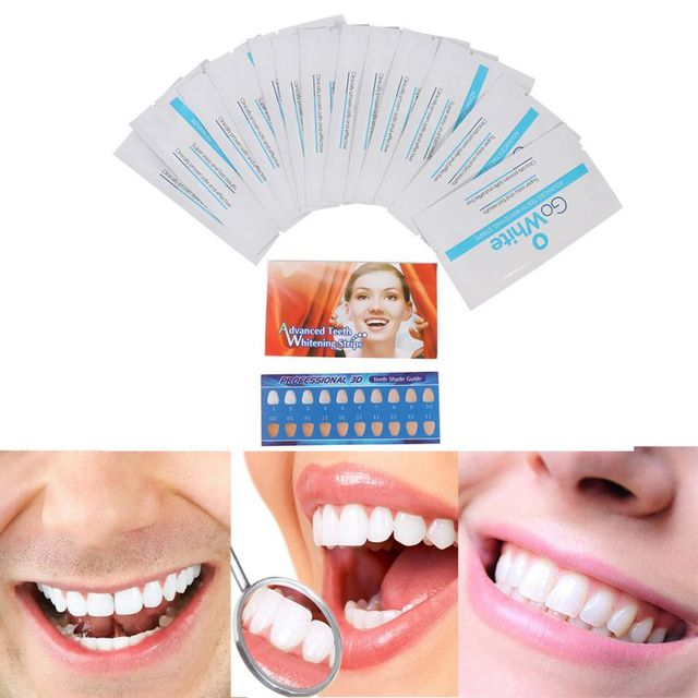14Pairs Teeth Whitening Strips Gel Care Oral Hygiene Clareador Dental Bleaching Tooth Whitening Bleach Whiten Tools