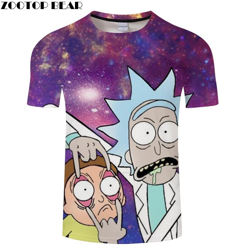 Galaxy&Rick and Morty 3D Print t shirt Men Women tshirts Summer Anime Short Sleeve O-neck Tops&Tee Purple Drop Ship ZOOTOP BEAR
