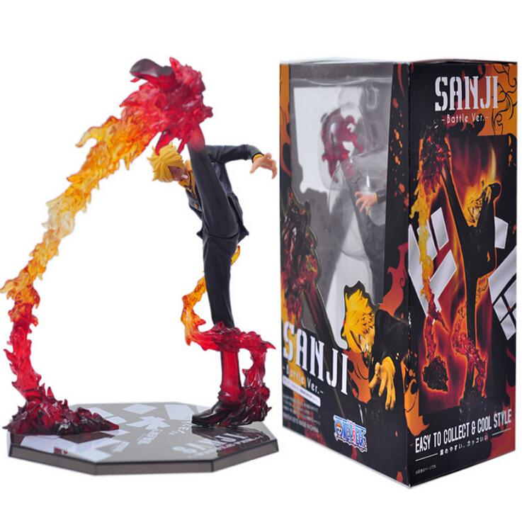 Anime One Piece Cool 6.8″ One Piece Black Leg Sanji Fire Battle Version Boxed Action Figure Collection Model Toy