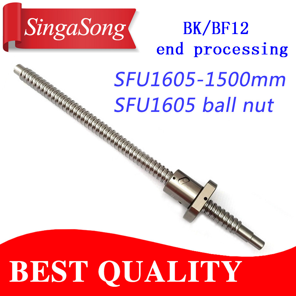 16mm 1605 Ball Screw Rolled C7 ballscrew SFU1605 1500mm with one 1500 flange single ball nut for CNC parts noulei sfu 1605 ball screw price cnc ballscrew 1605 900mm ball screw nut sfu1605 l900mm
