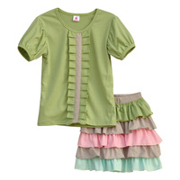 Latest Style Girls Spring Clothes Soild Color Short Sleeve Top Colorful Multilayer Ruffle Shorts Remake Kids