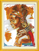 The African Woman People Cotton DMC Home Decor Cross Stitch Kits 14ct White 11ct Print Embroidery