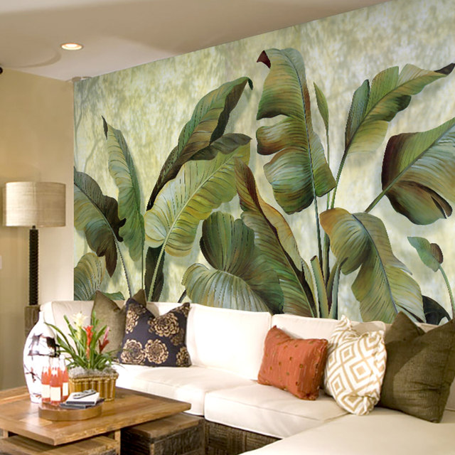 Custom Mural Wallpaper Southeast Asian Tropical Green Banana Leaf Bedroom Living Room Background Wall Decor