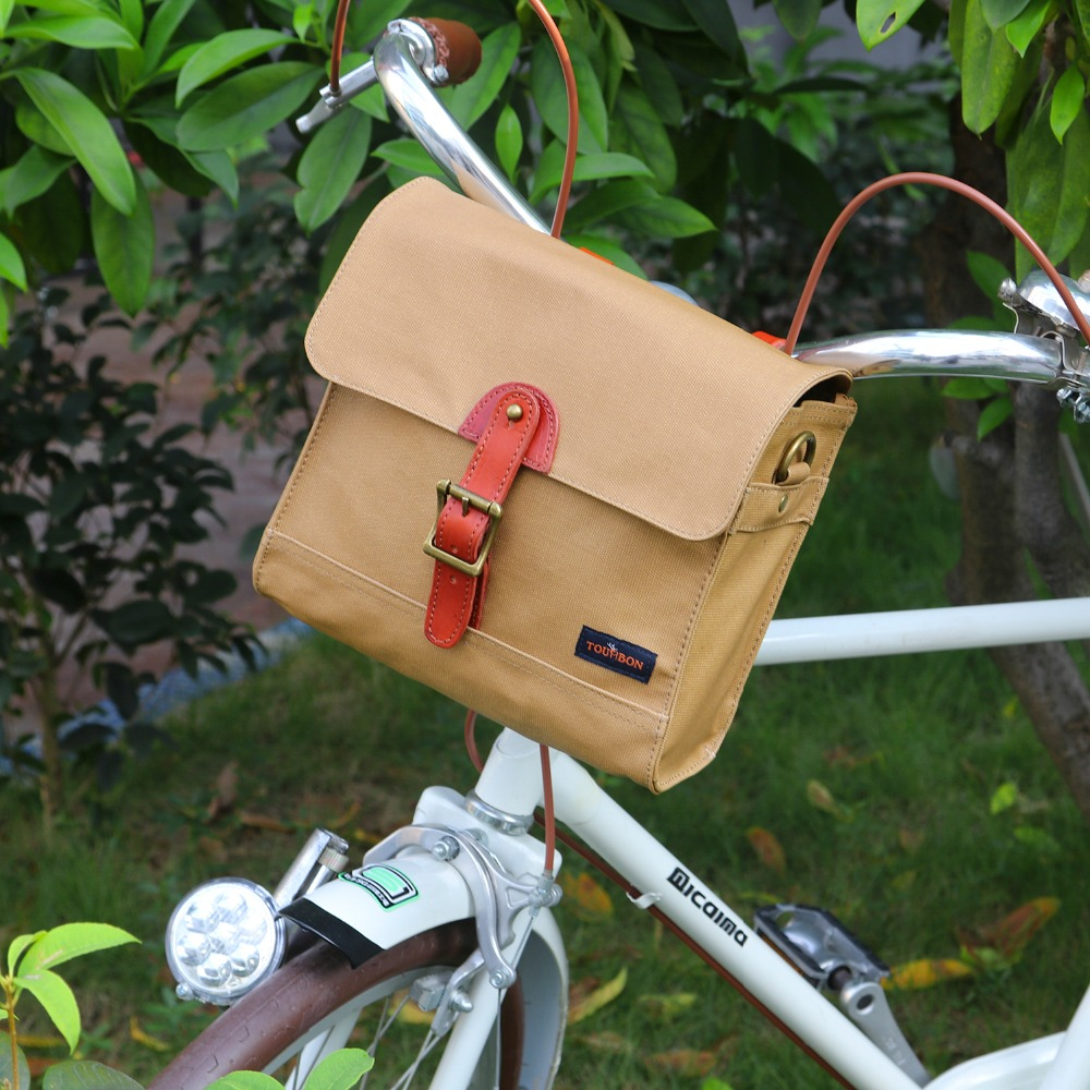 Tourbon Retro Bike Handlebar Bag Bicycle Front Basket Pannier Messenger Pouch Outdoor Cycling Accessory Waterproof Canvas