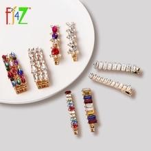 F.J4Z Luxury Hair Clips Brand Fashion Sparkling Acrylic Stone Women Jewelry Accessories Palillos del pelo