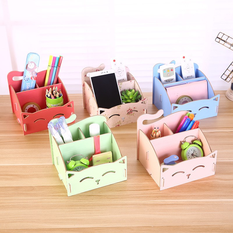 1 PC Cute cat pen holders Multifunctional storage Wooden Stationery Holders office organizer School supplies high quality cute pen holders small objects storage box office supplies