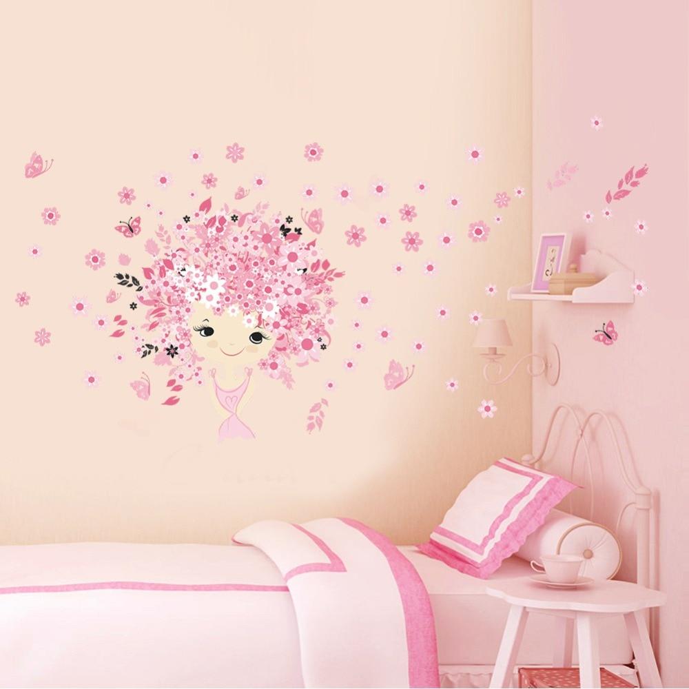 F Es Fille Papillon Fleurs Stickers Muraux Pour Chambres D Enfants