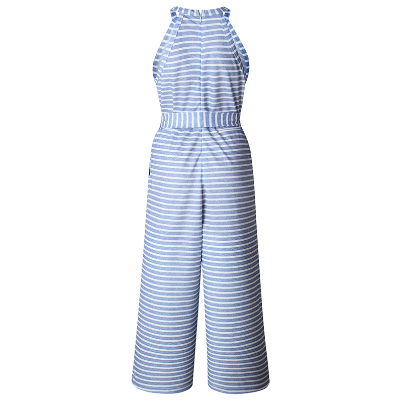 Striped tryckt hög midja jumpsuits och rompers Kvinnor ärmlös - Damkläder - Foto 5