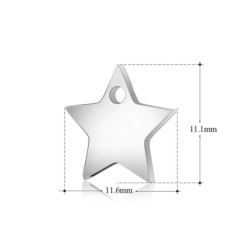 Semitree 10 Pcs/lot Stainless Steel Star Charm Kalung Liontin Gelang Pesona DIY Membuat Perhiasan Buatan Tangan Perlengkapan