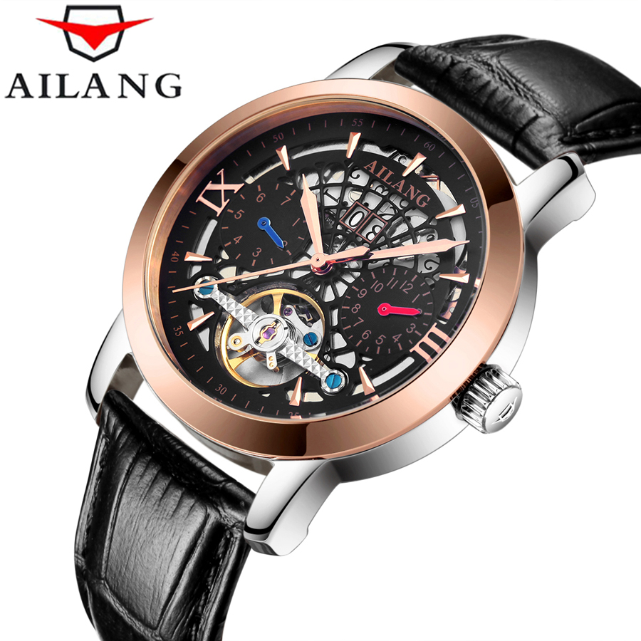 AILANG Men Wristwatch Automatic Mechanical Genuine Leather Skeleton Watches Casual Waterproof Luxury Brand Business Watch gift mce luxury brand skeleton square mechanical watches leather gold automatic watch men waterproof casual wristwatch reloj hombre