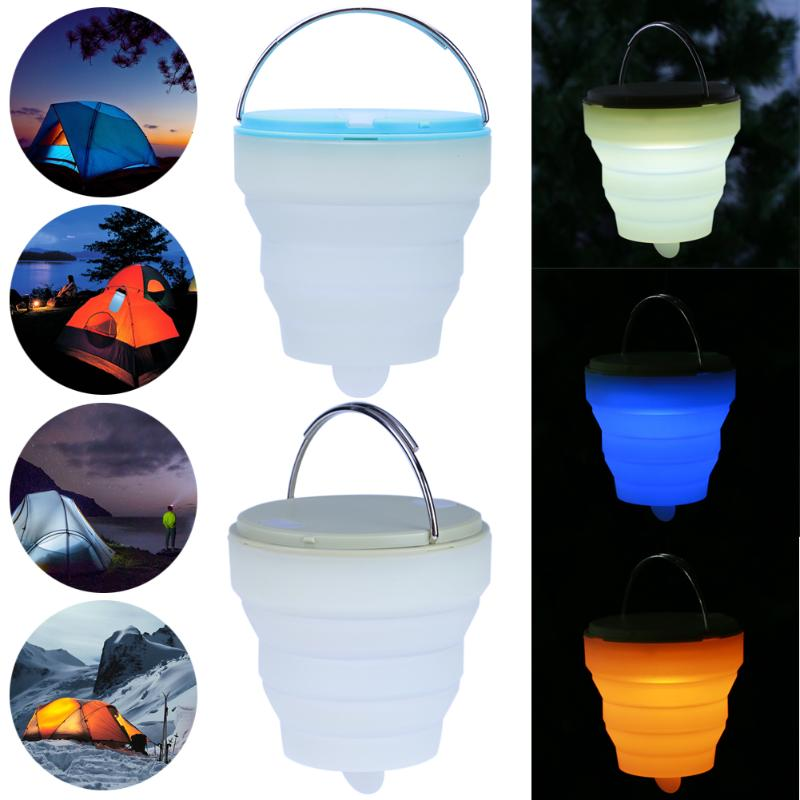 LED Silicone Camping Lamp LED Tent Light Colorful Atmosphere Night Light Outdoor Camping ...