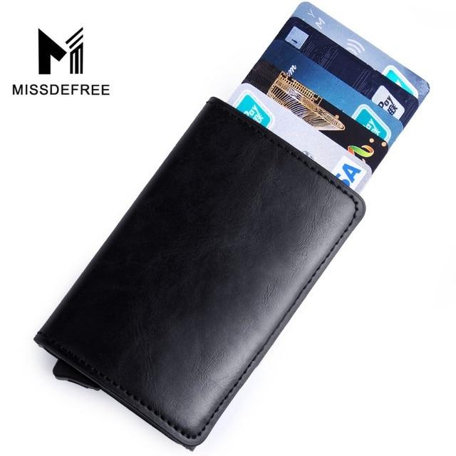 אלומיניום Slim ארנק עור מפוצל מחזיק RFID חסימת מיני מתכת ארנק פופ האוטומטי מזהה אשראי כרטיס מטבע ארנק זרוק חינם
