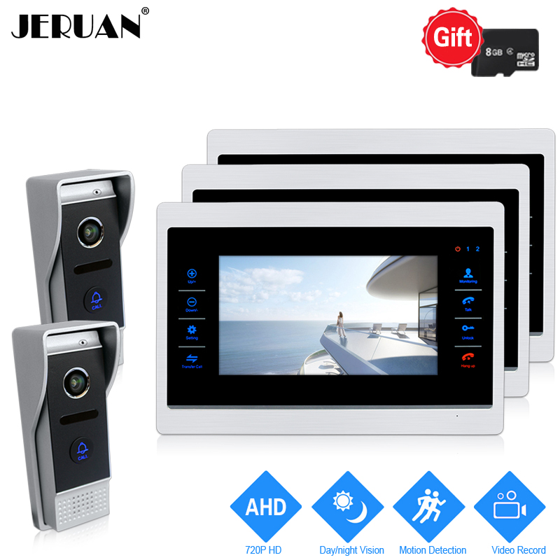JERUAN 720P AHD HD Motion Detection 7 INCH Video Door phone Intercom System 3 Record Monitor +2 HD 110 degree 1.0MP Camera 2V3 yagnob hd 110