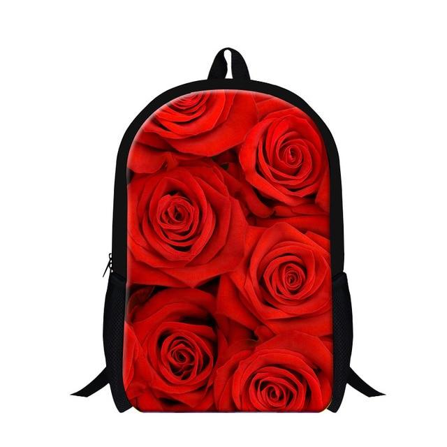 1b59f8acf 2016 Designer School Backpack Rose Flower Print Women Casual Double Shoulder  Bag Girls School Bags For