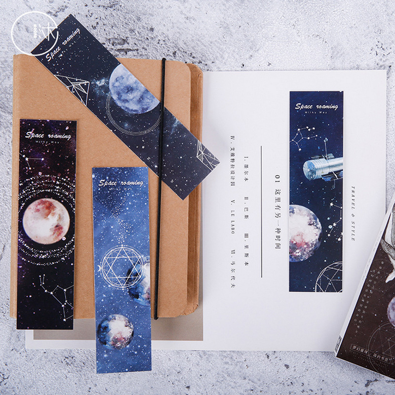 30 pcs/box Dream Space constellation paper bookmark stationery bookmarks book holder message card school supplies papelaria