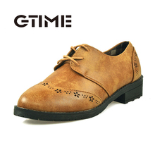 GTIEM Vintage Carved  Oxfords Cut Out Women Shoes Brogues Low Heel England Style Woman Flat Shoes For Spring Autumn  #GU476