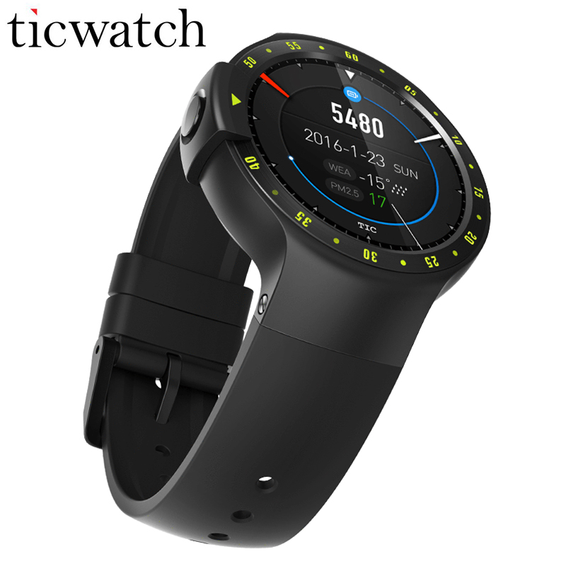 D'origine Ticwatch S Smartwatch Bluetooth 4.1 Dual Core 1.2 GHz MTK2601 Android Porter 2.0 pour iOS/Android IP67 Étanche 1.4 pouces