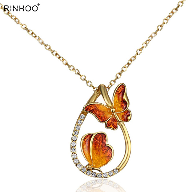 gold long zircon butterfly necklaces pendant fashion statement necklace for Wome
