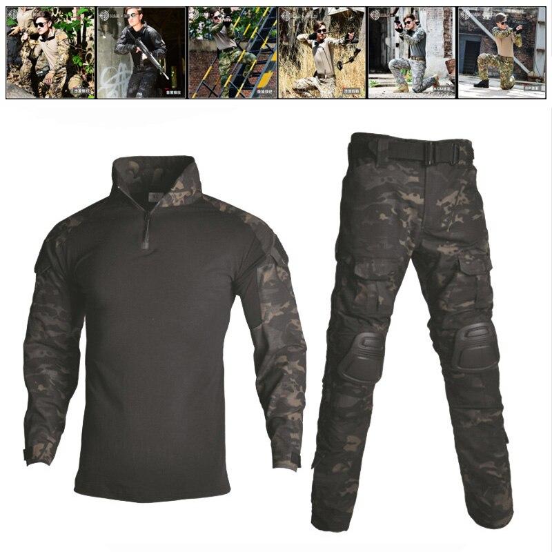 Camouflage vêtements de chasse Airsoft Sniper Combat tactique grenouille costumes chemise et pantalon armée militaire uniforme avec genouillères coudières