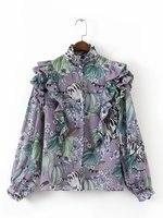 Autumn New Fashion Women's Top Quality Chiffon Print Ruffles T Shirt Turtleneck Casual Ladies Tank Tops