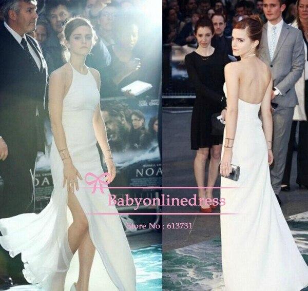 d682d99627 2014 New Fashion Emma Watson Halter White Prom Dress Noah London Premiere  Sheath Backless Red Carpet Maxi Long Celebrity Gowns