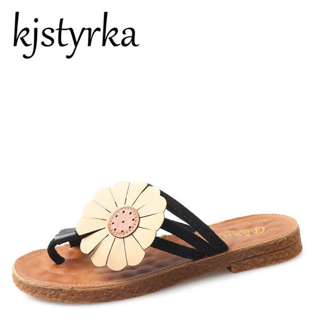 Kjstyrka 2018 New Sunflower Design Women Flip Flops Summer Flat Slippers  Comfortable Slides Outside Beach Sandals Women Shoes e11ccc297d93